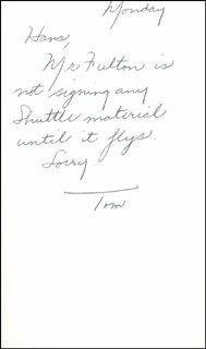 Autographs: THOMAS C. McMURTRY - AUTOGRAPH NOTE SIGNED