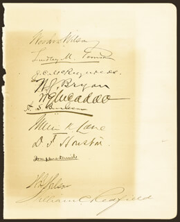 PRESIDENT WOODROW WILSON - AUTOGRAPH CO-SIGNED BY: LINDLEY M. GARRISON, FRANKLIN K. LANE, ASSOCIATE JUSTICE JAMES C. MCREYNOLDS, WILLIAM JENNINGS BRYAN, ALBERT S. BURLESON, WILLIAM G. McADOO, WILLIAM C. REDFIELD, WILLIAM B. WILSON, JOSEPHUS DANIELS, DAVID F. HOUSTON