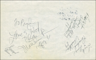 MARTHA REEVES & THE VANDELLAS - AUTOGRAPH NOTE SIGNED 1989 CO-SIGNED BY: MARTHA REEVES & THE VANDELLAS (MARTHA REEVES), MARTHA REEVES & THE VANDELLAS (ANNETTE BEARD), MARTHA REEVES & THE VANDELLAS (ROSALIND ASHFORD), THE PLATTERS (HERB REED), THE PLATTERS (BILLIE COX)