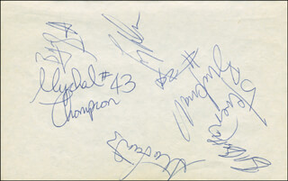 THE LOS ANGELES LAKERS - AUTOGRAPH CO-SIGNED BY: BYRON ANTOM SCOTT, MICHAEL JEROME COOPER, A. C. GREEN JR., MYCHAL GEORGE THOMPSON, VLADE DIVAC, LARRY DREW, ORLANDO V. WOOLRIDGE, ROD HOT ROD HUNDLEY, JERRY SLOAN, PAT RILEY, RICK BARRY, XAVIER McDANIEL, MEL McCANTS, THE UTAH JAZZ , MIKE BROWN, SHAWN KEMP, K.C. JONES, SEDALE THREATT, DALE ELLIS, BLUE EDWARDS, DELANEY RUDD, JOSE ORTIZ, THURL BAILEY, STEVE BUCKNALL, BRAD SELLERS, MICHAEL CAGE, BERNIE BICKERSTAFF, SCOTT MEENTS, AVERY JOHNSON, OLDEN POLYNICE, DERRICK McKAY, NATE McMILLAN, KEVIN CALABRO, STU LANTZ, SEATTLE SUPERSONICS - HFSID 299227
