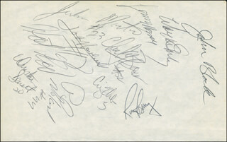 RICK BARRY - AUTOGRAPH CO-SIGNED BY: LENNY WILKENS, JOHN HAVLICEK, PAUL SILAS, WAYNE EMBRY, JOHN BLOCK, CRAIG EHLO, JOHN HOT ROD WILLIAMS, MARK PRICE - HFSID 299228