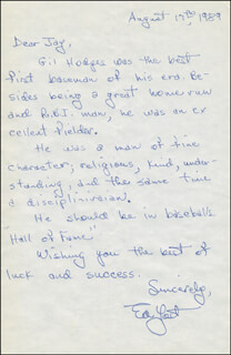 EDDIE THE WALKING MAN YOST - AUTOGRAPH LETTER SIGNED