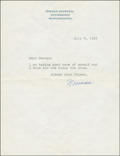 NORMAN ROCKWELL - TYPED LETTER SIGNED 07/04/1967