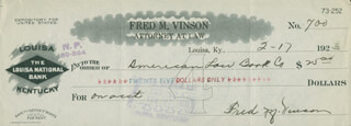 CHIEF JUSTICE FRED M. VINSON - AUTOGRAPHED SIGNED CHECK 02/17/1923