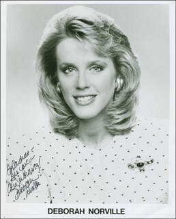 DEBORAH NORVILLE - INSCRIBED PRINTED PHOTOGRAPH SIGNED IN INK
