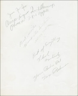 SAGEBRUSH ROUNDUP RADIO CAST - AUTOGRAPH SENTIMENT SIGNED CO-SIGNED BY: TEX REDMAN, DAVID E. HANK THE COWHAND STANFORD, WILLIAM DUSTY OSCAR AUGUST QUIDDLEMURP SHAVER, FLASH MESHINHOLZ