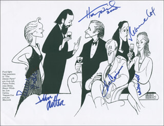 THE DINNER PARTY BROADWAY CAST - PRINTED ART SIGNED 2000 CO-SIGNED BY: LEN CARIOU, JOHN RITTER, HENRY THE FONZ WINKLER, PENNY FULLER, JAN MAXWELL, VEANNE COX