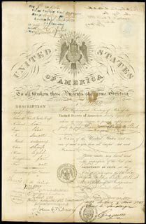 DANIEL WEBSTER - PASSPORT SIGNED 07/14/1851 CO-SIGNED BY: FRANCIS A. DEWINT, J. C. BANCROFT DAVIS