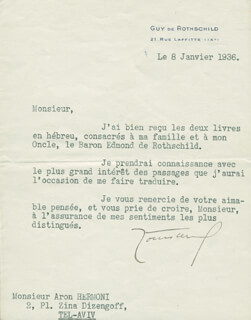 Autographs: GUY DE ROTHSCHILD - TYPED LETTER SIGNED 01/08/1936