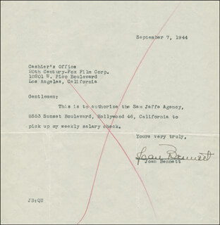 Autographs: JOAN BENNETT - DOCUMENT SIGNED 09/07/1944