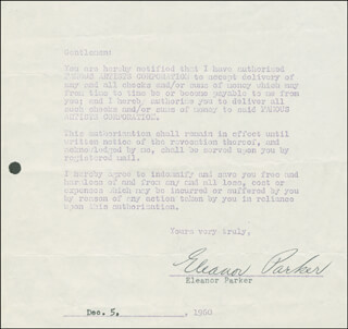 ELEANOR PARKER - DOCUMENT SIGNED 12/05/1960
