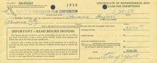 TERRY MOORE - DOCUMENT SIGNED 01/28/1958