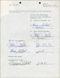 Autographs: JANE FONDA - CONTRACT MULTI-SIGNED 02/23/1981 CO-SIGNED BY: BRUCE GILBERT, WILLIAM C. NESTEL