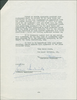 SIR CEDRIC HARDWICKE - CONTRACT SIGNED 11/18/1939