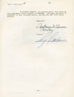 Autographs: RORY CALHOUN - CONTRACT SIGNED