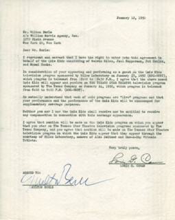 Autographs: MILTON BERLE - CONTRACT SIGNED 01/12/1950 CO-SIGNED BY: LOUIS G. COWAN