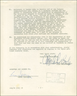 AARON SPELLING - CONTRACT SIGNED 12/02/1959