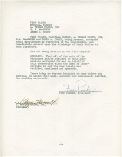 FESS PARKER - CONTRACT SIGNED 01/15/1965