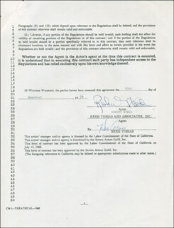 ROBERT STACK - CONTRACT SIGNED 11/19/1974