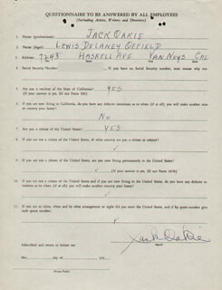 JACK OAKIE - CONTRACT MULTI-SIGNED 05/24/1940