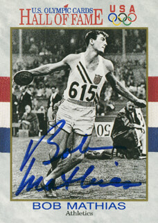 Autographs: BOB MATHIAS - TRADING/SPORTS CARD SIGNED