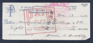 GENERAL OMAR N. BRADLEY - AUTOGRAPHED SIGNED CHECK 12/13/1952