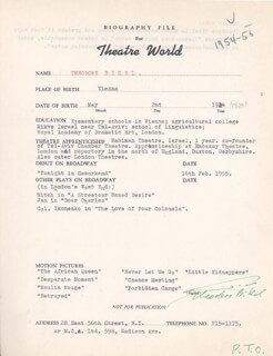 Autographs: THEODORE BIKEL - BIOGRAPHY SIGNED CIRCA 1955