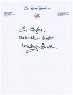WHITEY FORD - AUTOGRAPH NOTE SIGNED