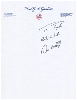 DON MATTINGLY - AUTOGRAPH NOTE SIGNED