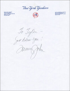 TOMMY JOHN - AUTOGRAPH NOTE SIGNED