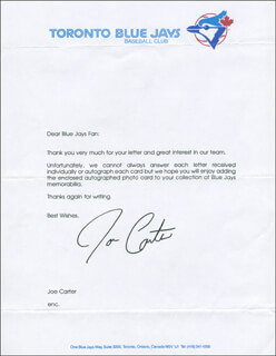 JOE CARTER - TYPED LETTER SIGNED