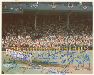 BOSTON RED SOX - AUTOGRAPHED SIGNED PHOTOGRAPH CO-SIGNED BY: WES STOCK, BERNIE CARBO, BERT CAMPANERIS, DENNY DOYLE, TONY KUBEK, JOHNNY PESKY, JUAN BENIQUEZ, GLENN ABBOTT, DICK DRAGO, THE OAKLAND ATHLETICS, DICK POLE, DOUG GRIFFIN, DARRELL JOHNSON, PAUL LINDBLAD, DON BRYANT, JIM BURTON