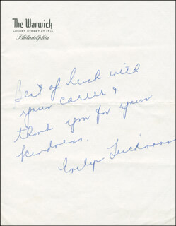 EVELYN LUCKMAN - AUTOGRAPH NOTE SIGNED