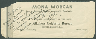 MONA MORGAN - AUTOGRAPH NOTE SIGNED 1943