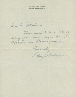 GLUYAS WILLIAMS - AUTOGRAPH LETTER SIGNED