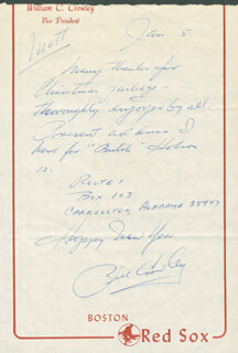 BILL CROWLEY - AUTOGRAPH LETTER SIGNED 01/05