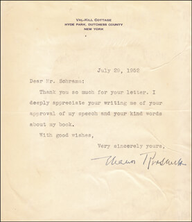 FIRST LADY ELEANOR ROOSEVELT - TYPED LETTER SIGNED 07/29/1952