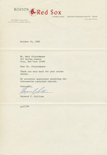 HAYWOOD SULLIVAN - TYPED LETTER SIGNED 10/24/1980