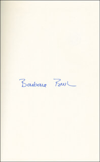 Autographs: FIRST LADY BARBARA BUSH - BOOK SIGNED TWICE