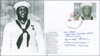 LT. COLONEL HAROLD BROWN - FIRST DAY COVER WITH AUTOGRAPH SENTIMENT SIGNED