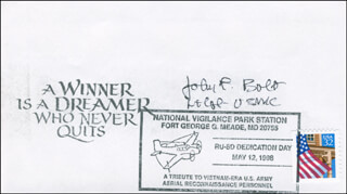 COLONEL JOHN F. BOLT - COMMEMORATIVE ENVELOPE SIGNED