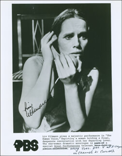 LIV ULLMANN - AUTOGRAPH NOTE ON PHOTOGRAPH SIGNED