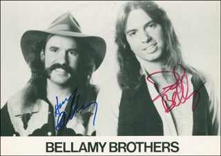 THE BELLAMY BROTHERS - AUTOGRAPHED SIGNED PHOTOGRAPH CO-SIGNED BY: THE BELLAMY BROTHERS (DAVID BELLAMY), THE BELLAMY BROTHERS (HOWARD BELLAMY)