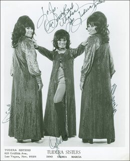 TUDERA SISTERS - AUTOGRAPHED INSCRIBED PHOTOGRAPH CO-SIGNED BY: TUDERA SISTERS (DINO TUDERA), TUDERA SISTERS (GLORIA TUDERA), TUDERA SISTERS (MARCIA TUDERA)