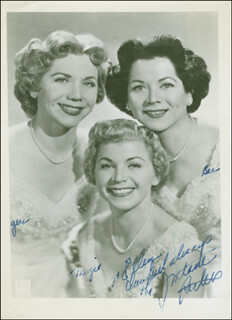 THE FONTANE SISTERS - AUTOGRAPHED INSCRIBED PHOTOGRAPH CO-SIGNED BY: THE FONTANE SISTERS (GERI ROSSE), THE FONTANE SISTERS (MARGE ROSSE), THE FONTANE SISTERS (BEA ROSSE)