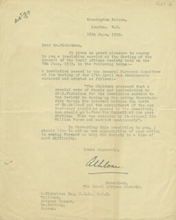 Autographs: EARL OF ATHLONE - TYPED LETTER SIGNED 06/16/1939