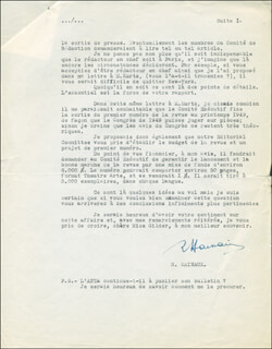 RENE HAINAUX - TYPED LETTER SIGNED 11/16/1948