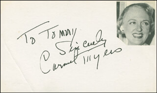 CARMEL MYERS - AUTOGRAPH NOTE SIGNED