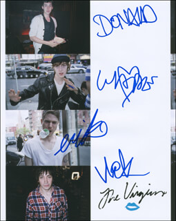 THE VIRGINS - AUTOGRAPHED SIGNED PHOTOGRAPH CO-SIGNED BY: THE VIRGINS (DONALD CUMMING), THE VIRGINS (WADE OATES), THE VIRGINS (NICK ZARIN-ACKERMAN), THE VIRGINS (ERIK RATENSPERGER)