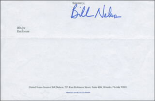 Autographs: BILL NELSON - TYPED SENTIMENT SIGNED
